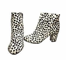 Lothian Nora Women's Side Zip Ankle Boots Black & White Dalmatian Print US, 7.5