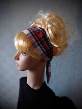Red and white tartan hair scarf, 50's retro vintage rockabilly headband
