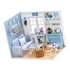 1/24 Dollhouse Kit Miniature Diorama Fresh Sunshine Living Room Light Blue
