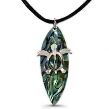"Sea Turtle on Surfboard Charm Pendant Necklace - Abalone Paua Shell - 18"" Chain"