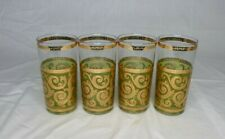 vtg Mid Century Culver Toledo Bar Glasses Tumblers Green 22K Gold Scroll Design