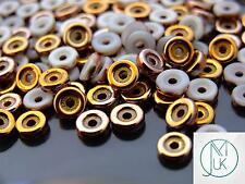 10g Czech Glass Wheel® O Beads Chalk Capri Gold 6mm Spacer