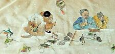Debbi Chan Watercolor on Silk With Embroidered  Cricket Masters unframed