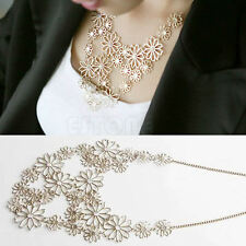 Lady Gold Flower Rhinestone Choker Pendant Bib Statement Necklace Sweater Chain