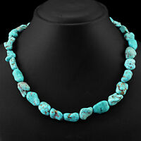 FINEST RARE 333.50 CTS NATURAL UNTREATED TURQUOISE BEADS NECKLACE - LOWEST PRICE