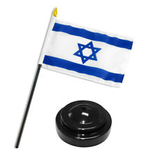 """Israel Star Flag 4""""x6"""" Desk Set Table Stick Black Base"""