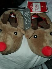 TODDLER SIZE 5 REINDEER SLIPPERS NEW