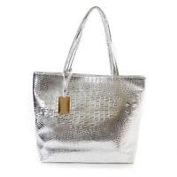 Large Metallic Ladies Womens Tote Bag Crocodile Snakeskin Handbag Leather Bags