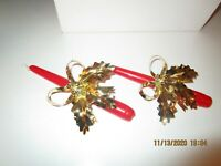 "Vintage Avon Rustic ""Holly & Bow"" w/ Bells Christmas Taper Candle Huggers"