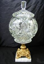 Hollywood Regency Modern Crystal Apothecary Jar Compote Globe Lid & Marble Base