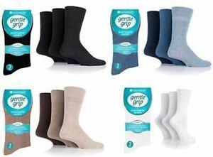Mens Gentle Grip Diabetic Non Elastic Soft Cotton Socks Pack Of 3 Pairs 6 - 11