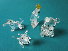 Swarovski Crystal Animals Paperweight Bear, Dog, Parrot And Cangaroo