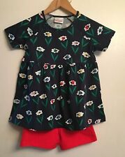 NWT HANNA ANDERSSON Girls Navy Blossom Ladybug Floral Top & Shorts sz 8 130cm
