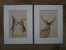 """Watercolour Hare and Stag on handmade paper in 8"""" x 6"""" Mounts"""