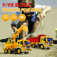 1:16 Excavator Transporter Truck Construction Vehicles Car Kids Tipping Lorry US