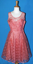 VINTAGE PROM PARTY DRESS GOWN 1950's SLEEVELESS PINK TULLE LACE