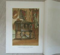 Antique Colour book plate print - Elizabethan sideboard in Warwick Castle