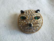 "Beautiful Brooch Pin Gold Tone Clear Black Green Rhinestones Cat Head 1 1/2"" WOW"