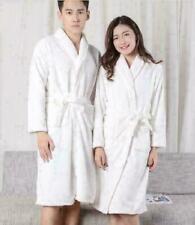 Womens MENS Cotton Night Robe Sleepwear White Bathrobe Spa Shower Robe Loose MON
