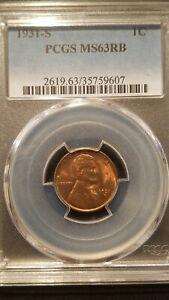 1931-S Lincoln Cent * PCGS MS63RB * Semi Key Date * Attractive Even Color