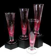 "STUDIO ART GLASS PINK AND CLEAR SWIRL 4 PC 7 7/8"" CHAMPAGNE GLASSES"