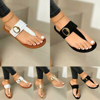 US Summer Women's Flip Flop Slipper Thong Sandals Buckle Casual Flat Shoes Size