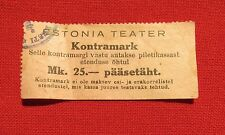 Vintage Estonian Theater Ticket -/Kontramark to ESTONIA Theater. 1930th.