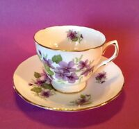 Royal Vale Pedestal Tea Cup And Saucer - Violets - Ridgway Potteries - England