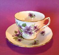 Royal Vale Pedestal Tea Cup And Saucer - Violets - Ridgway Potteries - England
