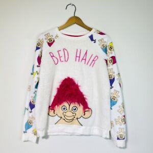 Small Vintage Good Luck Trolls Bed Hair Fleece Sweatshirt Top
