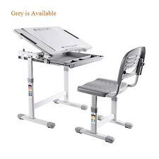 B203 Healthy Ergo Study Desk & Chair Set Grey w/Paper Roll Holder, H-Adjustable