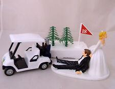 Wedding Reception Party Golfer Golf Cart Cake Topper Bride Dragging Groom