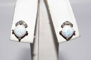 1.20CT TROPICAL WHITE OPAL & DIAMOND ARCH CLUSTER STUD EARRINGS 10K WHITE GOLD