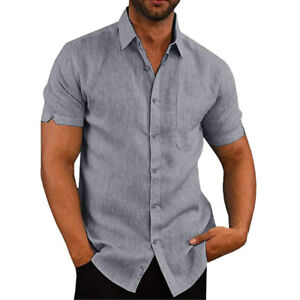 Mens Short Sleeve Solid T Shirts Summer Casual Button Down Dress Tops Blouse Tee