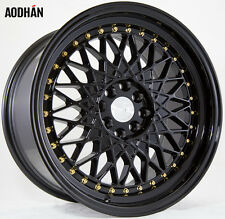 Aodhan Ah05 17X9 4X100/114.3 +25 Black Rims Fits Acura Honda Hyundai Nissan