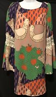 JUDITH MARCH Dress Lace Dove Colorful Bird Shift Plunging Bell Women's Sz Medium