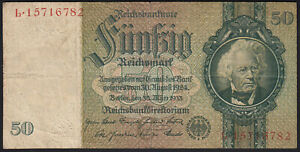 1933 50 Reichsmark Old Vintage Paper Money Banknote Currency Antique Note VF