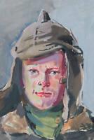 DIEZ, Portrait des jungen russischen Soldaten Sergej in Uniform, 1943, Pastell