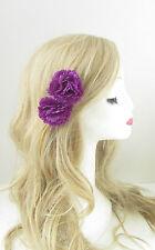 2 x Purple Carnation Flower Hair Clips Rockabilly 1950s Pin Up Festival Vtg 158