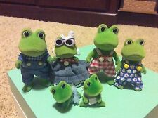 CALICO CRITTERS BULLRUSH FROG FAMILY RARE VINTAGE SYLVANIAN FAMILIES W/BABIES!!!