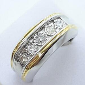 $2,000 BOLD 1.00ctw H-SI Diamond 2-Tone 14K Yellow Gold 925 Men's Ring Size 10