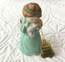 Merri Bells Jasco 1978 Christmas Girl Angel Holding Lamb ? Bisque Porcelain Bell