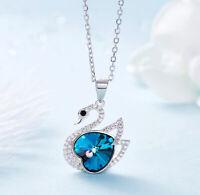 Luxus Schwan Herz Halskette mit Swarovski® Kristallen 925 Sterling Silber Neu