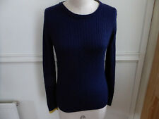 JOULES NAVY BLUE WOOL BLEND LONG SLEEVE CABLE KNIT JUMPER SIZE 8