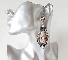 Gorgeous 9cm long boho style silver tone - cream & navy blue - diamante earrings