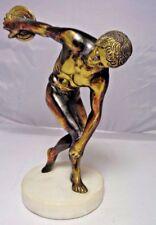 Vintage Discus thrower brass bronze colored metal statue figurine -Office decor