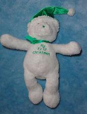 Baby Gund My First Christmas Plush White Teddy Bear Green Santa Hat Plush Toy