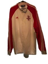 """Houston Rockets Adidas Jacket Clima365 White Red Sleeves 2XL +2"""" Snap Front"""