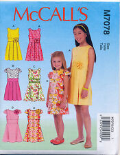 MCCALL'S SEWING PATTERN 7078 GIRLS SZ 3-6 DRESSES WITH A-LINE OR PLEATED SKIRTS