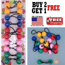 Rainbow Colors Braid Girls Scrunchie Jumbo Beads Hair Tie Ball Ponytail Holder